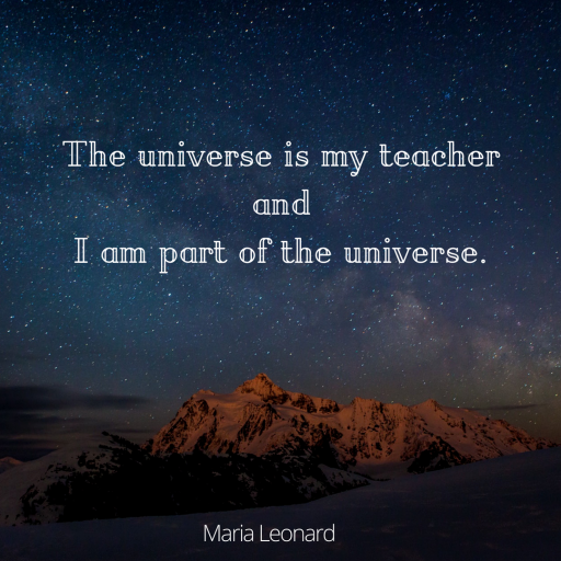 The universe is my teacher 